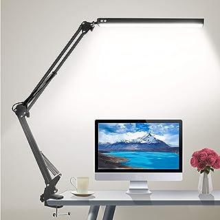 چراغ میز کار HaFundy LED ، چراغ قابل تنظیم برای مراقبت از چشم با گیره ، چراغ بازویی تاب دار شامل 3 حالت رنگی ، 10 لامپ میز روشنایی با عملکرد حافظه ، چراغ میز کار برای خانه ، دفتر ، مطالعه (سیاه)