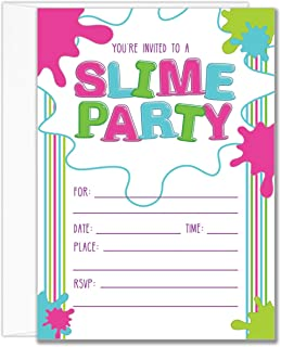 Slime Party Invitations for Girls Birthday, with Envelopes, Set of 20, 5