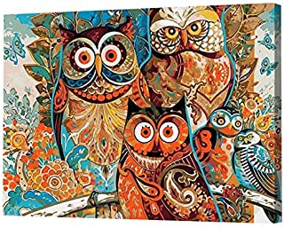 MailingArt Paint by Number Kits for Adults Kids with Wooden Frame - Colorful Owls