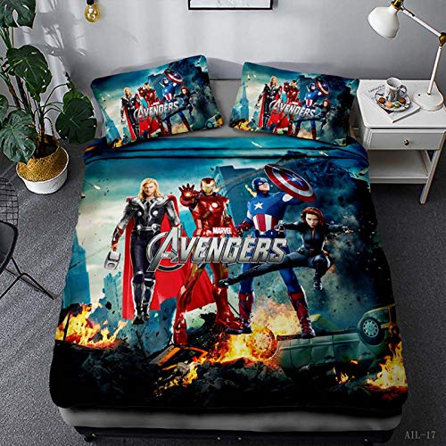YZHY - Copripiumino con motivo Marvel The Avengers, biancheria da letto stampata, Spiderman, Hulk, in microfibra, regalo di compleanno per bambini, 220 x 240 cm