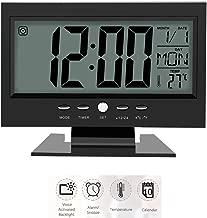 Despertador eléctrico inteligente, LCD Sensor de sonido digital Despertador de escritorio de mesa con calendario y pantalla de temperatura con calendario de temperatura Luz de fondo Snooze(Negro)
