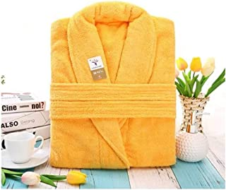 CHAHANG Thick Cotton Towel Long Bathrobe Indoorswoman Hotel Bathrobe White Pajamas Completely Absorbed 180 (Color : Yellow, Size : 135cm)