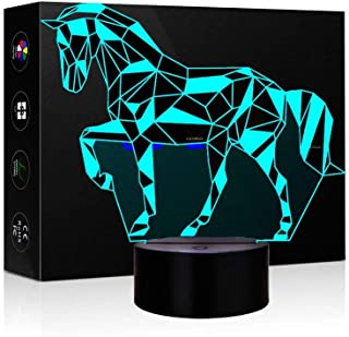 Animals Horse Illusion 3D Night Light Touch Table Desk LED Lamps 7 Color Changing Lights with Acrylic Flat ABS Base USB Charger and Children Family Holiday Gift (Unicorn)