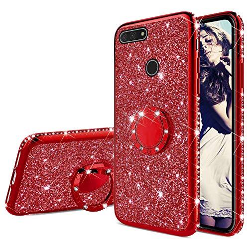 Misstars Glitzer Hülle für Huawei Honor 7A Rot, Bling Strass Diamant Weiche TPU Silikon Handyhülle Anti-Rutsch Kratzfest Schutzhülle mit 360 Grad Ring Ständer für Huawei Y6 2018 / Honor 7A
