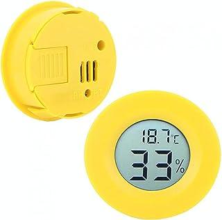 Fuktighetsmätare, LCD-skärm Fuktighetsmätare Fuktsäker cirkulär - 50 - +70 ° C för displayskåp för kylskåp(Yellow shell)