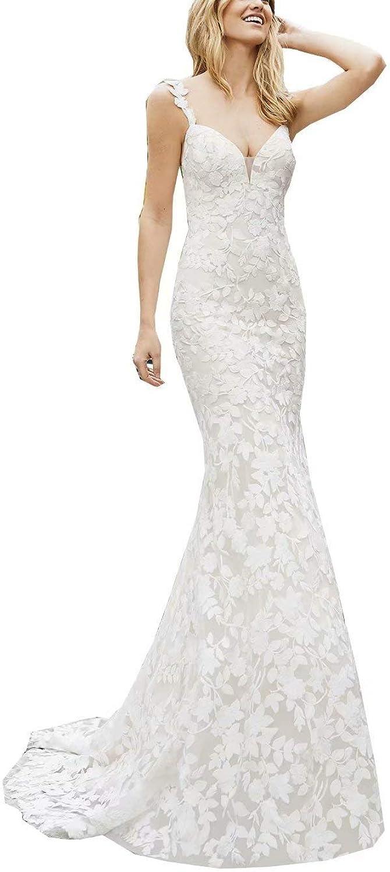 Unions Women's Straps VNeck Lace Appliques Chapel Wedding Dress Backless Bridal Gown