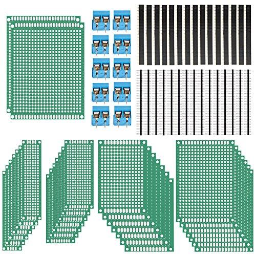 AKUNSZ Prototype Board Kit, 30 PCS Double Sided PCB Board Prototype Kit with 5 Sizes - 2x8cm, 3x7cm, 4x6, 5x7cm, 7x9cm + 10PCs PCB Mount Screw Terminal Block + 30Pcs Breakaway Male and Female Header