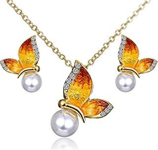 CHOA Colorful Butterfly with Pearl Jewelry Sets Butterfly Necklace Pearl Earrings for Women