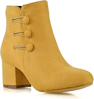 ESSEX GLAM Womens Ankle Boots Block Heel Ladies Zippier Button Up Round Toe Booties Shoes Size