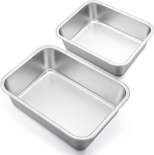 Deep Lasagna Pan Set (12.7'' & 10.7''), P&P CHEF Stainless Steel Rectangular Baking Pan for Brownie/Cake/Meat, Non-Toxic &...