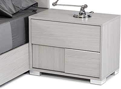 Limari Home The Willem Collection Modern Italian Crafted Veneer & Acrylic Chrome Metal Rustic Bedroom Storage Right Nightstand With 2 Drawers, Gray