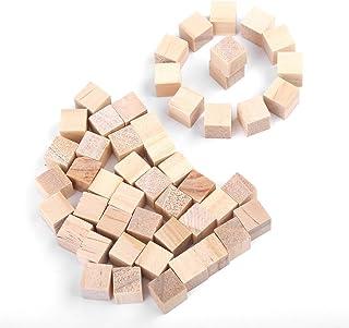 Juego de bloques de madera, cubos de madera cuadrados naturales sin terminar DIY artesanías de madera hechas a mano artesanías accesorios decorativos para niños rompecabezas haciendo(10mm(50Pcs))