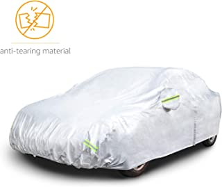 AmazonBasics Silver Weatherproof Car Cover - 150D Oxford, Sedans up to 225""