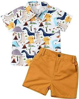Kid Boys Dinosaur Outfits Short Sleeve Cartoon Tshirt Top And Solid Pockets Short