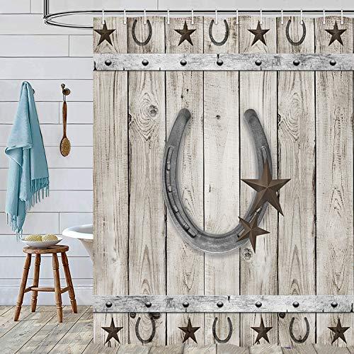 Farmhouse Rustic Shower Curtain, Western Barn Star Horseshoe on Country Wooden Plank Southwestern Garage Barn Door Fabric Bathroom Curtain with Hooks 69x70inches