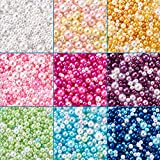 Cheriswelry 4500 cuentas de perlas de resina, mini bolas redondas, 9 colores, sin agujeros, perlas de imitación para jarrón de resina de fundición de joyas, fabricación de bodas de 2,5 a 5 mm