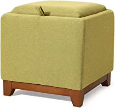 Storage Stool Hand-Woven Storage Stool Rattan Shoe Bench Ottoman Solid Wood Multifunctional Storage Box (Color : Green, Si...