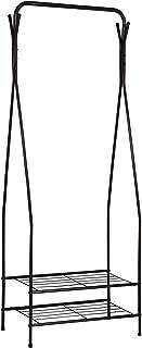 WOLTU Burro Ropa Burro Perchero Negro con 2 Estantes Resistente para Hogar Vestidor Pasillo Dormitorio 58.5x32x158cm SR0074sz