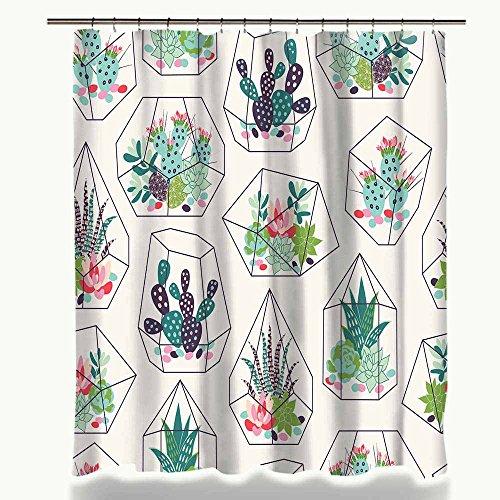 nobrand groene potplanten Cactus Succulents Print douchegordijn polyester waterdicht badkamergordijn met stof 12 haken