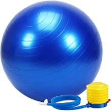 Wazdorf Anti-Burst Exercise Gym Ball 75cm with Pump, Anti-Slip Balance Stability Ball, Heavy Duty Fitness Yoga Ball, Extra Thick Swiss Birthing Ball, Exercise Equipment for Home, Exercise Ball (Multi Color)