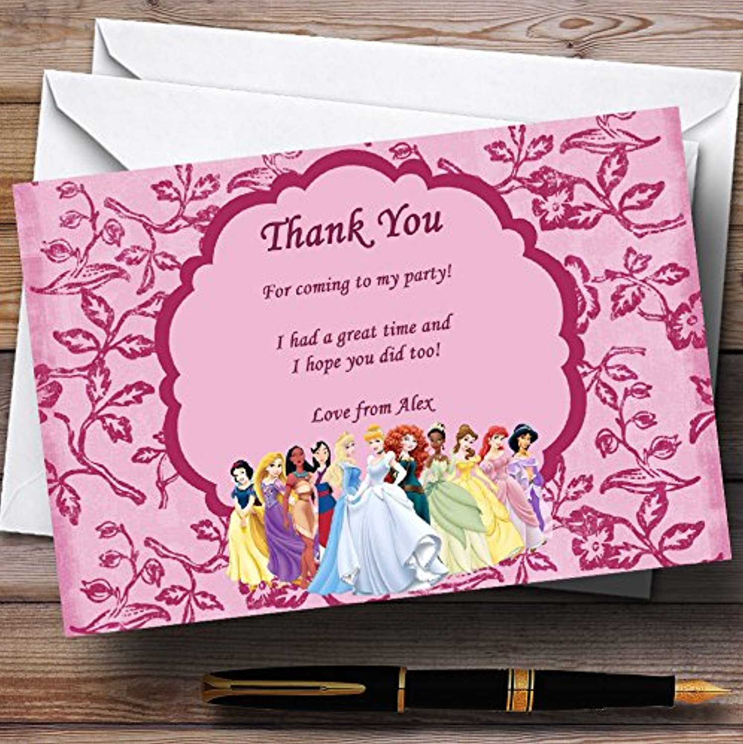 Pink Princess Personalised Birthday Party Thank You Cards