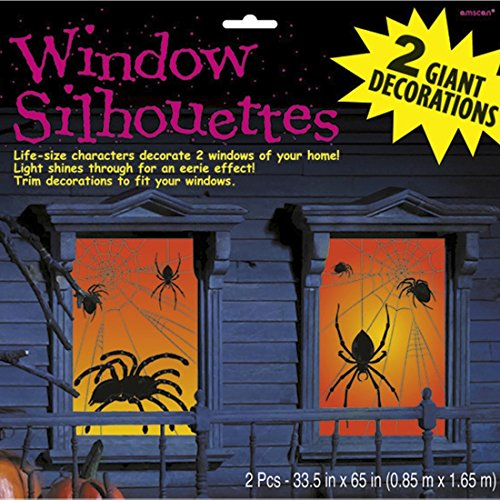 NET TOYS Spinnen Fensterbilder 85 x 165 cm - 2 TLG. Halloween Fensterdeko Fensterbild Spinne Raumdeko Horror Deko