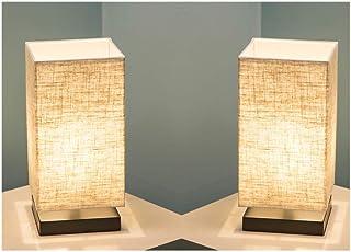 Juego de 2 lámparas de sobremesa lámpara de escritorio de diseño minimalista moderno con pantalla de tela cuadrada y base...