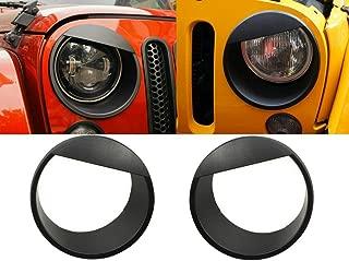 Opall Black Bezels Front Light Headlight Angry Bird Style Trim Cover for Jeep Wrangler JK JKU Rubicon Sahara 2007-2018, not for JL