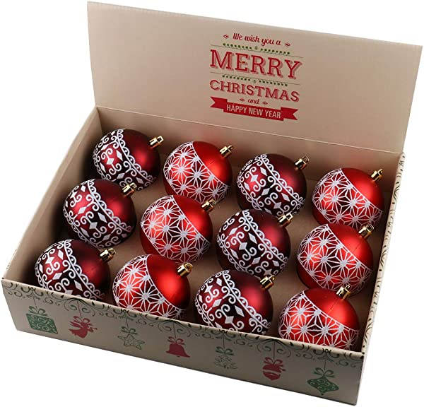 ALEKO CHB03RD Shatterproof Winter Print Ornament Holiday Christmas Set With Decorative Box Set Of 12 Red