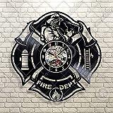 Kovides Fire Dept Wall Art Retro Vinyl Record Clock Vintage Wall Clock Fireman Profession Dangerous Wall Decals Idea for Him Fire Department Wall Sticker Firefighter Clock