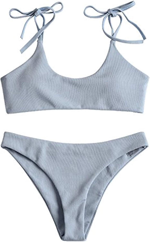 ZAFUL Women's Sexy Tie Shoulders Ribbed Bikini Set Padded Strap