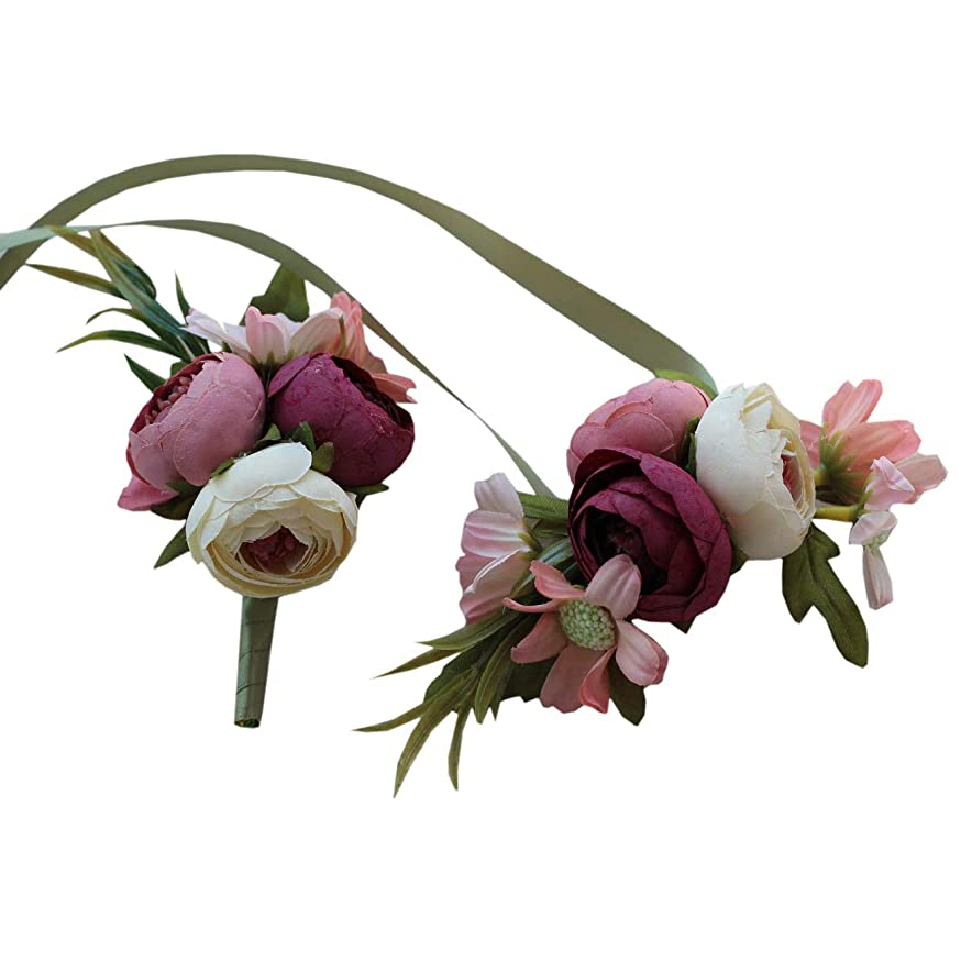 USIX 2pc Pack-Handmade Artificial Peony Buds Wrist Corsage & Men's Lapel Boutonniere Pin for Wedding Party Prom Homecoming(Pink)