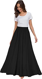 Women's Chiffon Retro Maxi Skirt Vintage Ankle-Length Skirts