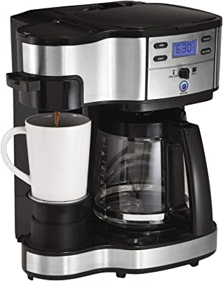 Hamilton Beach (49980A) Single Serve Coffee Maker and Coffee Pot Maker, Programmable, Black/Stainless Steel (Renewed)