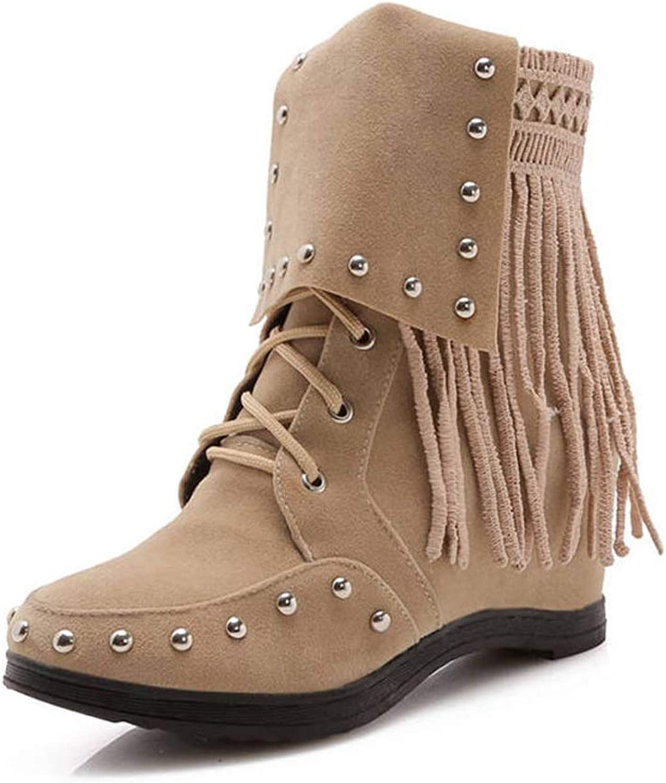 York Zhu Women Ankle Boots,Autumn and Winter High Rivet Tassels Fashion Winter Boots