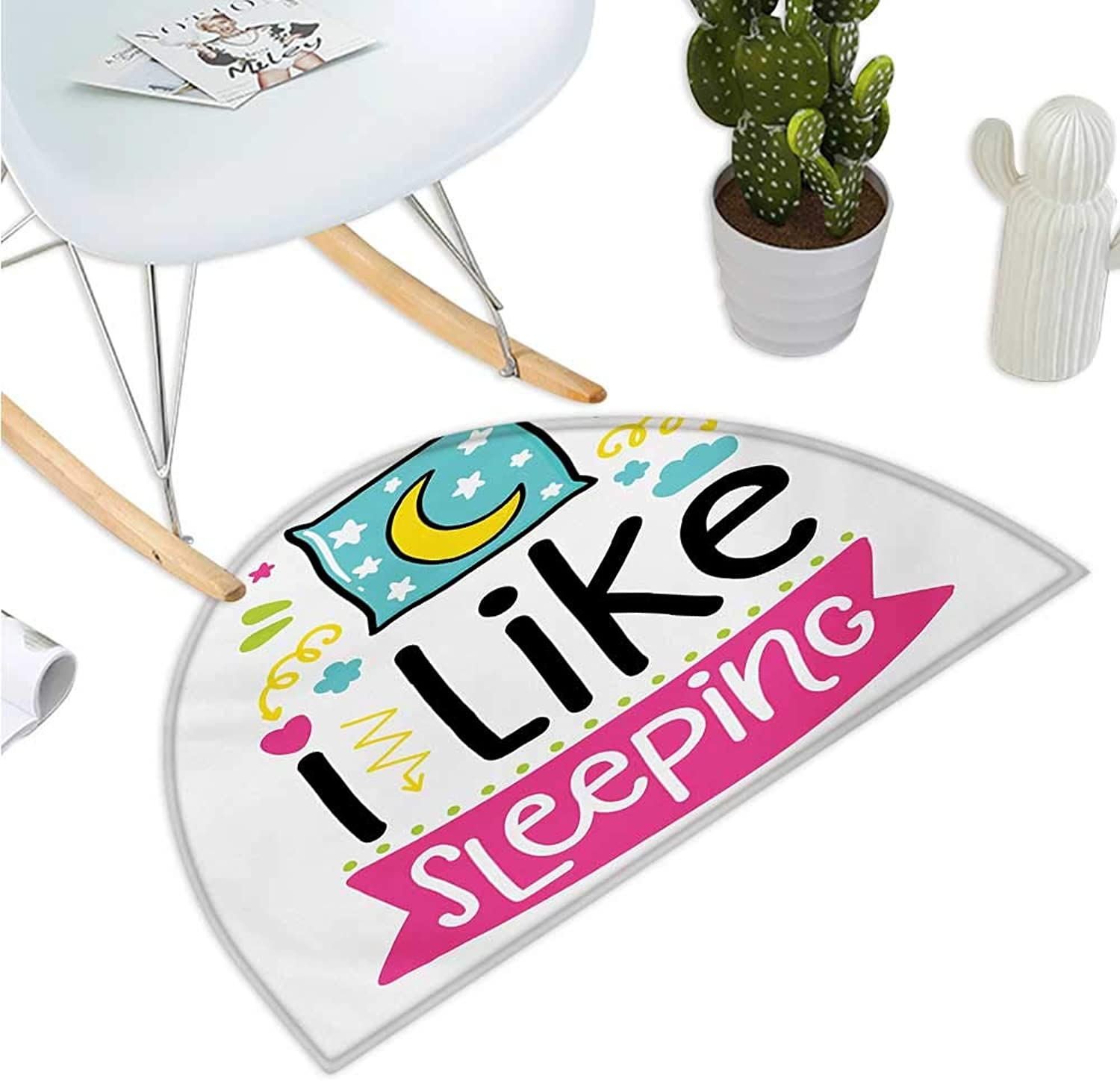 Quote Half Round Door mats Kids Toddler Nursery Design with I Like Sleeping Text Pillow Stars Arrows The Moon Bathroom Mat H 51.1  xD 76.7  Multicolor