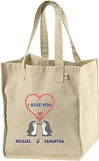 Personalized Custom Text I love you Two Penguins Hemp/Cotton Canvas Market Bag