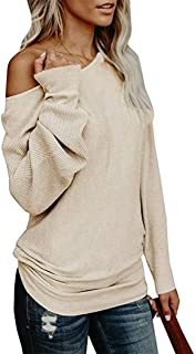 Women's Sweaters,Off Shoulder Long Sleeve Oversized Pullover Sweater Loose Knit Jumper