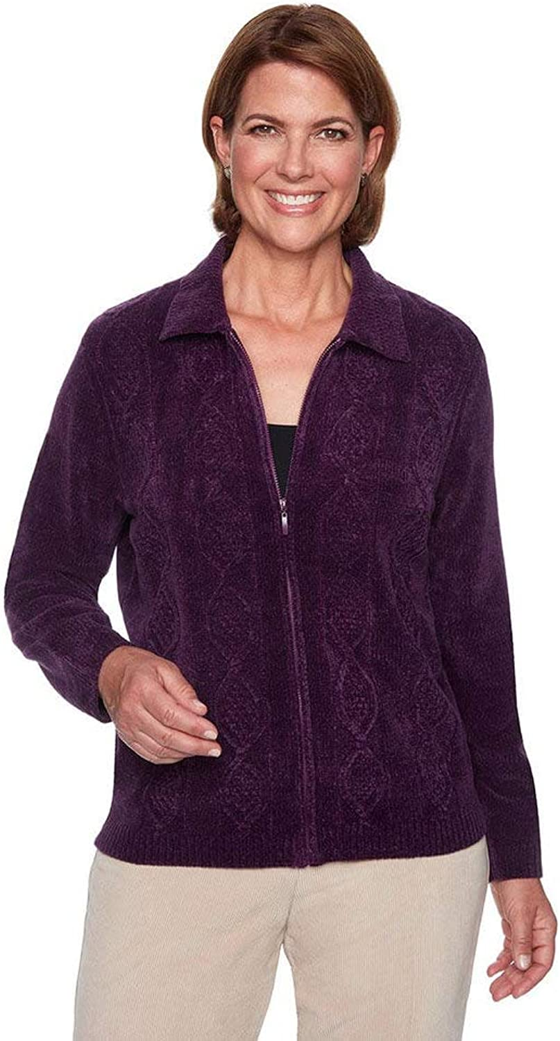 Alfred Dunner Women's Fall Classics 2018 Diamond Texture ZipUp Chenille Cardigan
