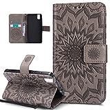 Kompatibel mit Huawei Honor 7i Hülle,Huawei Honor 7i Schutzhülle,Prägung Mandala Blumen Sonnenblume PU Lederhülle Flip Hülle Cover Ständer Etui Wallet Tasche Hülle Schutzhülle für Huawei Honor 7i,Grau