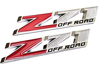 2pcs Z71 OFF Road Decals Emblems Badge 3D Replacement for GMC Chevy Silverado 1500 2500HD Sierra Suburban Colorado Chrome Red