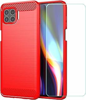 YZKJ Fodral till Motorola Moto G 5G Plus,mjuk silikon kolfiber mobiltelefonfodral TPU väska skyddsfodral pansarglas skärms...