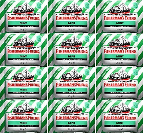 Fishermans Friend Sugar Free Mint Menthol Lozenges 25g x 12 Packs by Fishermans Friend