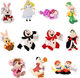 Rare Alice in Wonderland Set of 11 Plush Bean Bag Dolls Including Queen of Hearts, Cheshire Cat, White Rabbit, Dodo Bird, Dormouse, Red Ace, Black Ace, Alice, Mad Hatter, March Hare, Tweedle Dee and Tweedle Dum