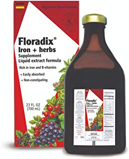 Floradix Liquid Iron + Herbs Supplement 23 oz EXTRA LARGE - All Natural, Vegetarian, Vitamin C, Non Constipating - Supports energy & red blood cell production for Women & Men