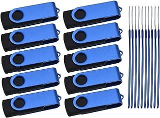 8GB Memory Stick 10 Pack Portable USB 2.0 Flash Drives Kepmem Blue Swivel Pendrive with 10pcs Ropes for School