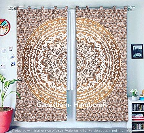 GANESHAM HANDICRAFT - Goldene Mandala Tapisserie Vorhänge, Boho Vorhänge, Tapisserie Vorhänge, Mandala Fenster Behandlung, Boho Zigeuner Wohnheim Dekor indischen Vorhänge Tapisserie Vorhang