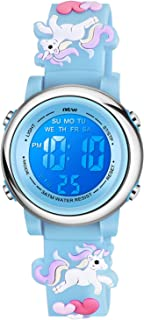 Venhoo Kids Watches 3D Cartoon Waterproof 7 Color Lights Toddler Wrist Digital Watch with Alarm Stopwatch for 3-10 Year Girls Little Child-Blue Unicorn