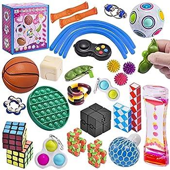 Ganowo 30 Pack Sensory Fidget Toys Bulk Assortment Bubble Puzzle Toys for Kids Teens Adults Fidget Set for Birthday Party Favors Classroom Rewards Prizes Goodie Bag Fillers Random Colors