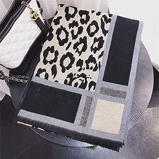 Autumn & Winter Cashmere Leopard Scarves Fashion Warm Shawl Fringed Border Pattern Long Scarf, houseHold, Black, 180x70cm